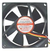 "Evercool Case Fan 3 PIN. New. New in retail package. Fan screws are included. 3 1/8"" X 3 1/8"", 80 X 80 X 25 mm 2500 RPM Air Flow: 32.40 CFM 12V CQ Products. EC8025M12CA."
