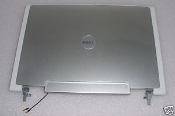 "Dell Inspiron 630m 640m e1405 / XPS M140 14.1"" LCD Back Cover Assembly with Hinges and antenna-JC069 - MG583. Silver in good condition. A few scratches can be seen. Used."