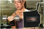 "Harbinger Pro Thumb Loop WristWraps. New. Thumb loop style. 20"" for maximum support. High quality durable elastic. UPC: 000751502754. Woman and weights are not included."