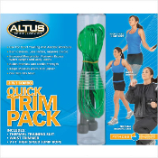 Altus 1212 002. 3 in 1 Combo. Quick Trim Pack. New. High Speed Jump Rope, 9'. Waist Trimmer, Thermal Training Suit. UPC: 011726026069.