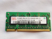 Hynix 512MB 2Rx 16 HYMP564S64S64CP6-Y5 AB PC2-5300-555-12. DDR2 667MHz. Refurbished. Pulled from a working laptop.