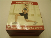Weider 14906 Neoprene Reducing Shorts. WNSBMD08. Medium. New. Sweat off extra weight with these comfortable lightweight reducing shorts. Compression support, side zipper, extremely durable, hand wash, hang dry. 074345707085.