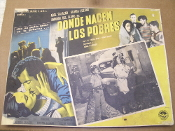 Donde Nacen Los Pobres. Spanish Movie Poster. 1950. Birthplace of the Poor. Original Movie Poster, not a copy or a reprint. Abel Salazar, Gloria Lozano, Amanda Del LLano