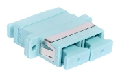 Systimax MM SC Duplex Adapter, Aqua. LazrSPEED® SC Duplex Adapter, Single Pack. 150, 50 μm multimode fiber. Alignment Sleeve Material is phosphorous bronze.