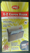 E-Z Coupon Holder. 055047. New. Holds up to 150 Coupons. Hands Free Coupon Use. Attaches to Shopping Cart. Includes 12 File Tabs and Labels. Fits in Purse. 0323680500472. Jokari Brand. Extra Pockets Hold Reward and Credit Cards. Retail Package.