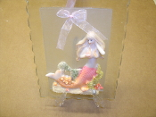Mermaid Glass Decoration. New. 744530689020. It comes with a hanging strap and a countertop stand.