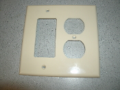Leviton 078477977569 Midway Medium Ivory Plate. New. 3 Outlet Plate
