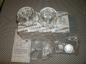 Delta H41 Two Medium Clear Handles. Kit. New. 034449361606. Two Caps RP18373, Two Screws RP5885.