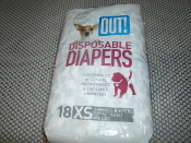 "Out! X-Small Disposable Diapers. 010279706619. 18 Diapers. 13""-16"". 4 to 8 Pounds. XS. For females in season, Incontinence Excitable urination."