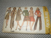 "Simplicity 5194 Fabric Pattern. Used. Size 12. Bust 34"". Waist 26 1/2"". Miss. Knit Fabric Only. 21 Pieces Given. 1972."