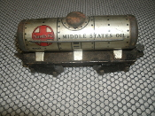 Marx Mar Toys Santa Fe Tanker Car 553 Train. Middle States Oil. Used. Pre-War. O Gauge.