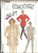 Simplicity 7762 Sewing Pattern. New. Sizes: 14+16+18. EUR: 42+44+46. Phillis Sidney. 13 Pieces. Misses' Jiffy Knit dress or top, vest and pull-on pants.