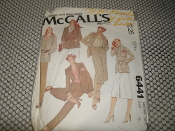 Carefree Patterns From McCall's. 6441. Sewing Pattern. Used. miss Size: 14. Bust: 36. Patterns are cut. 25 Pattern Pieces. Misses' Jacket, Skirt and Pants.