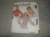 McCall's 6305 Sewing Pattern. Already Cut. 9 Pieces. Misses' blouse.