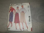 "McCall's Sewing Pattern. 6710. New. Size: 12. Waist: 26 1/2""."