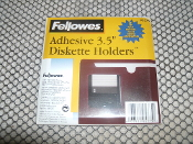 "Fellowes 95375 Adhesive 3.5"" Diskette Holders. New. 5 Pack. Clear. 077511953750. Retail Packaging."