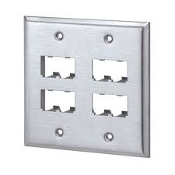 Panduit CFP8S-2GY. Double Gang, Vertical Faceplate Accepts 8 Mini-Com® Modules With Screws. 8 Port. Stainless Steel. New. 074983032945.