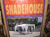 "Oasis 89013 Shadehouse, 89013. Solid White. 087404890130. New. 13' 8"" W X 13' 8"" X 7.9"" H. 4.17'm X 4.17'm X 2.36'm."