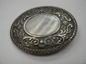"Mother of Pearl Belt Buckle. Used. 3"" Lenght X 2 1/2"": Height."