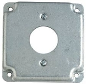 "Raco 811C Raised Square Electrical Cover. 4"". 1 1/2"" Hole Opening. Refurbished. Galvinized Steel. Hubbel Electric. LOT of 12. 050169999868"