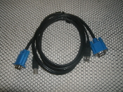 KVM Cable with USB connectors. 2-in-1 molded SVGA USB KVM cable - Male to Male. Max resolutions up to 2048x1536. 5 Feet in Length.