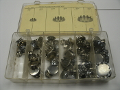 "Chrome Plug Buttons, No. 36049. New. Chrome Plug Buttons Assortment, No. 36049. New. 36052, 1/2"", 36055 1"" 36056, 1 1/4"", See Picture."