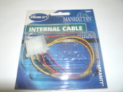"Manhattan Power Y Internal Cable Adapter. 2 X 5 1/4"" Female. 1 X 5 1/4"" Male. 8"", 20cm. New in retail package. Model: 360623. UPC: 766623360623."