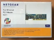 Netgear FA311 Fast Ethernet PCI Adapter. For use in both 3.3- and 5 volt PCI systems. Compatible with cable and DSL ethernet modems.