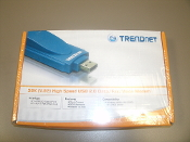 TRENDnet 56K (V.92) High Speed USB 2.0 Data/Fax/Voice Modem. New in Retail Box. Model: TFM-560U. UPC: 710931301083. Quick connect. 1 X USB 2.0 Type A Port. 1 X RJ-11 Port Phone Line.