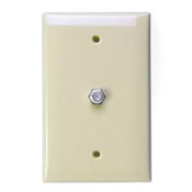 Leviton 1 Port CATV Wallplate for GEM Box Mounting. 000-80781. UPC: 078477813614. OK36YO. Retail package. 1 plate with 2 screws.