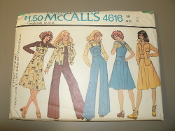 McCall's 4616 Sewing Pattern. New. Size 14. Bust 36. Misses' and Junior Petite Shirt or Shirt-Jacket, Jumper and Overalls.