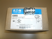 Eaton 650S Compression Type Connector For Thinwall Conduit. (EMC). New. Box of 50. 30784564206504. Electrical Metallic Tubing Fitting Intended For Concrete Tight. For Encloser Seal Use Use Crouse=Hinds SL1 Locknut.
