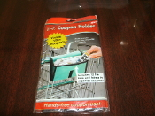 E-Z Coupon Holder. 055042. Jokari. New. Holds up to 150 Coupons. 0323680500427. Green with black trim. Hands Free Coupon Use. Attaches to Shopping Cart. Includes 12 File Tabs and Labels.