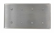 Leviton 84057-40 Stainless Steel. New. 4-Gang Blank Wallplate, Standard Size, 302 Stainless Steel, Strap Mount. 078477812365.